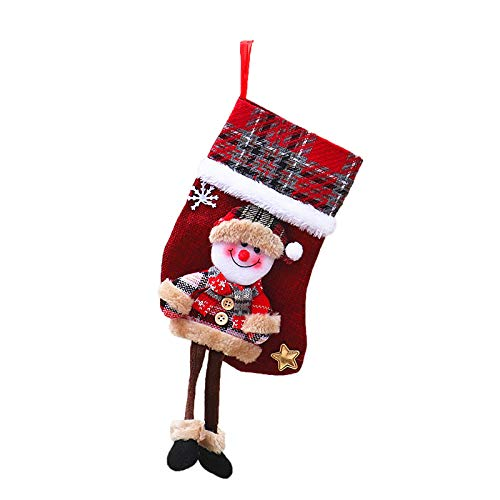 PoerVio Christmas Santa Stockings Candy Bag,Assorted Flannel Santa Candy Socks Hanging Accessories for Xmas Tree Decoration