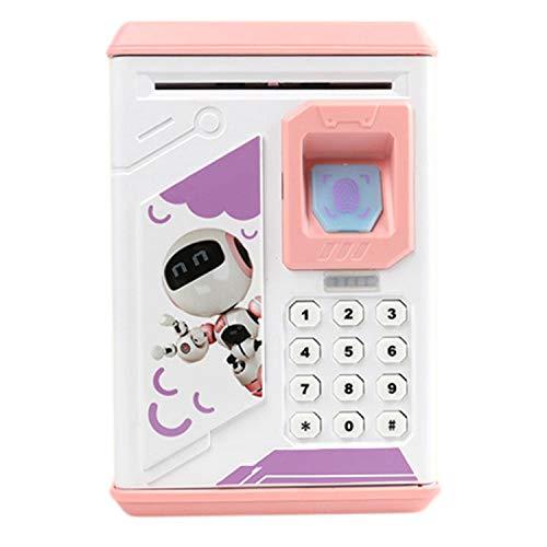 Fransande - Hucha electrónica con huella digital (diseño de cerdo, monedas de plata con música), color rosa