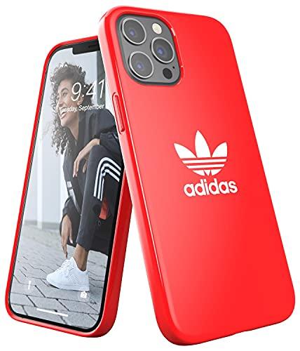 adidas Funda diseñada para iPhone 12 Pro MAX 6.7, Fundas a Prueba de caídas, Bordes elevados, Carcasa Original, Color Rojo Escarlata