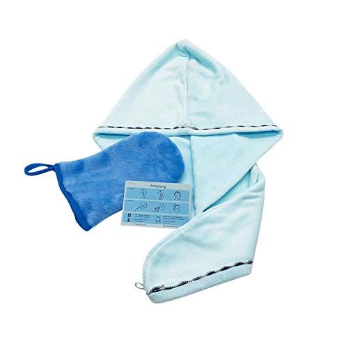 MYPA Turbante para el cabello, juego de toalla turbante con botón y desmaquillante de microfibra, sin productos químicos, lavable y de secado rápido, para todas las longitudes de cabello