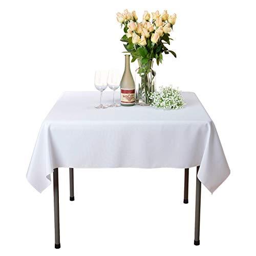 VEEYOO Mantel Cuadrado 100% Poliéster Mantel Suave para Mesa Interior y Exterior - Mantel de Cena Sólido para Bodas Partido Restaurante Cafetería (Blanco, 135x135 cm)