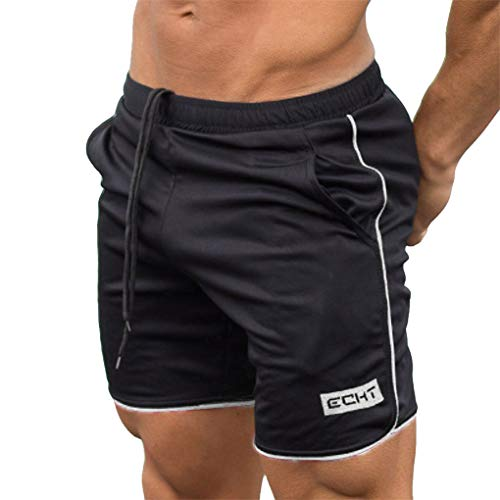 Kurze Hosen für Herren, Skxinn Fitness Basketball Trainingsshorts für Männer Hosen, Atmungsaktiv, Sommer Herren-Sporthosen Trainingshosen Workout Fitness Short Pants,Bodybuilding-Shorts(Weiß,Large)