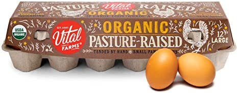 Vital Farms 1 Dozen Organic Pasture-Raised Eggs, Large, Brown, Certified Humane, 12 Ct