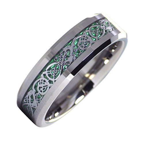 Fantasy Forge Jewelry Tungsten Celtic Dragon Ring Mens Womens Green Carbon Fiber Wedding Band 6mm Size 5