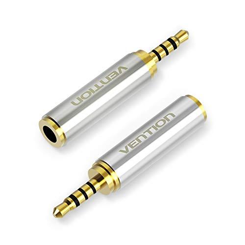 Vention Lot de 2 adaptateurs Audio 3,5 mm Femelle vers 2,5 mm mâle de qualité supérieure pour Casque d'écouteurs, écouteurs 2,5 mm vers 3,5 mm Jack stéréo ou Mono