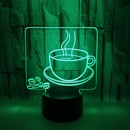 ANHHWW Creative Hot Coffee Styling 3D Night Light Led Table Lamp,7 Color Remote Control Lamp Children Bedside Slides Bedroom Decoration Valentine's Day Romantic Birthday Gift