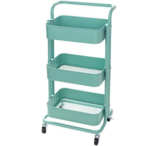 Display4top Carrito con Bloquear Ruedas, Carrito Auxiliar con 3 Nivel para la Cocina, baño, Dormitorio de Almacenamiento (Turquesa)