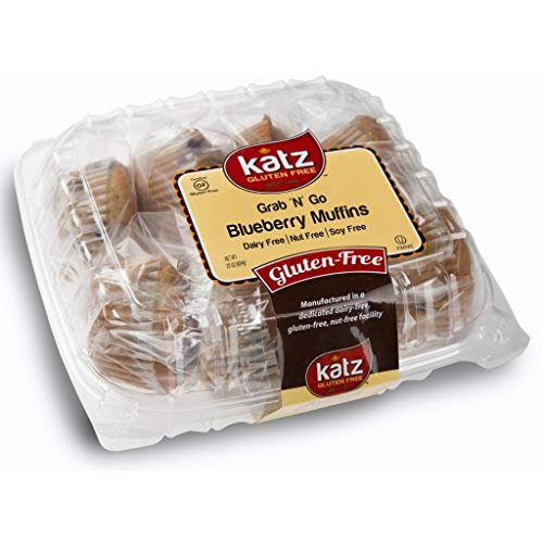 Katz Gluten Free Individually Wrapped GRAB N' GO Blueberry Muffins | Dairy, Nut, Soy and Gluten Free | Kosher (1 Pack of 8 Muffins, 22 Ounce)