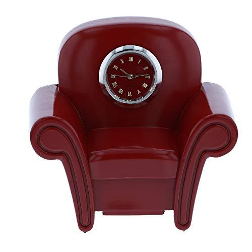 Reloj de sofá en miniatura para sillón, color rojo burdeos y rojo para coleccionistas de escritorio TM19