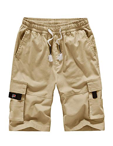 APTRO Herren Shorts Arbeitsshorts Baumwolle Cargo Shorts Outdoor Sommer Freizeit Kurze Hose Khaki XL