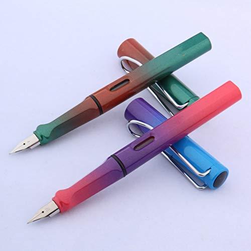 MDYHJDHYQ Fountain Pen Writing Klassische Kunststoff Student Gradient Red Aurora Farbe Business-Silber Geschenk Füllfederhalter (Color : Schwarz, Size : Kostenlos)