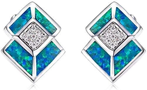 OUHUI Pendientes de Perno Pendientes de Diamantes Artificiales Blancos Joyas para Mujeres Pendientes Hechos a Mano para Fiestas Y Bodas Exquisito/C