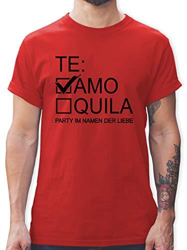 JGA Junggesellenabschied Männer - Teamo/Tequila - schwarz - S - Rot - weiße Tshirt - L190 - Tshirt Herren und Männer T-Shirts