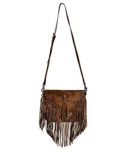 ZLYC Dip Dye Leder Umhängetasche mit Langen Fransen im Böhmischen Style Handtasche Troddelbeutel Damentasche