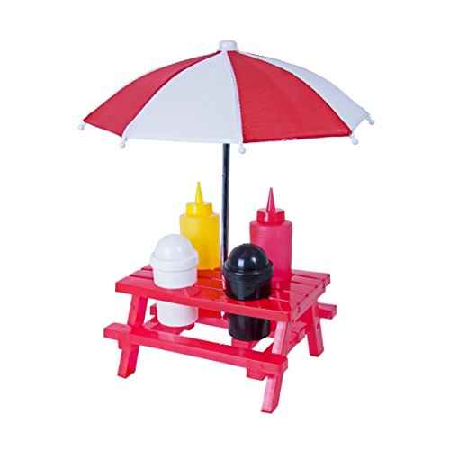 Global Gizmos Classique Table de Pique-Nique Condiment de Barbecue. Table, Parasol, sel, Poivre, Ketchup et Moutarde, Rouge