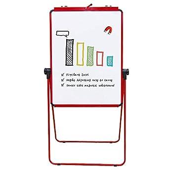 VIZ-PRO ECO Magnetic U-Stand Whiteboard/Flipchart Easel 28 X 36 Inches Red