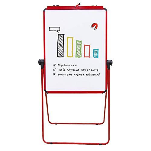 VIZ-PRO ECO Magnetic U-Stand Whiteboard/Flipchart Easel, 28 X 36 Inches, Red