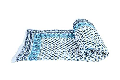 Crafts Jaipur Jaipuri impresión algodón cama individual Razai edredones mantas para el hogar (azul, blanco y amarillo) CJ_84