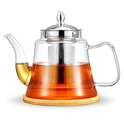 ROIMTEA Glass Teapot Kettle with Removable Stainless Steel Infuser for Loose Leaf Tea & Blooming Tea, Stovetop Safe & Microwave Safe Tea Brewer Maker with Coasters for Tea Pot & Infuser, 1200ML/40oz