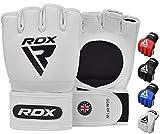 Rdx guantes mma para artes marciales y grappling entrenamiento, palma abierta maya hide cuero lucha guantillas, bueno para sparring, kickboxing, muay thai, krav maga y combate training