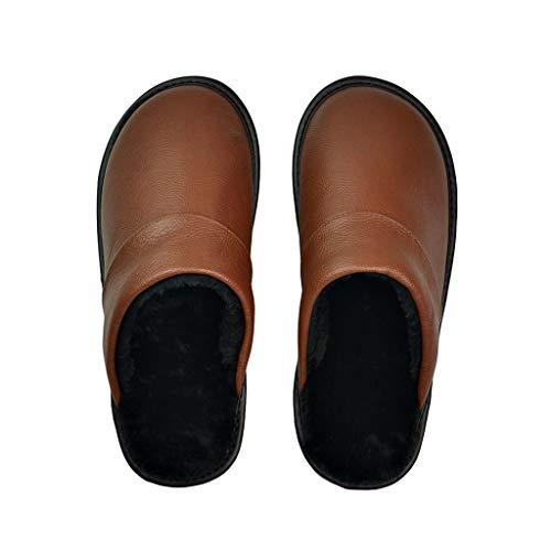 XJJZS Zapatillas de Cuero de Vaca Genuino Pareja Interior Antideslizante Hombres Mujeres hogar Moda Zapatos Casuales PVC Suela Suave Invierno (Color : Brown, Size : 43)