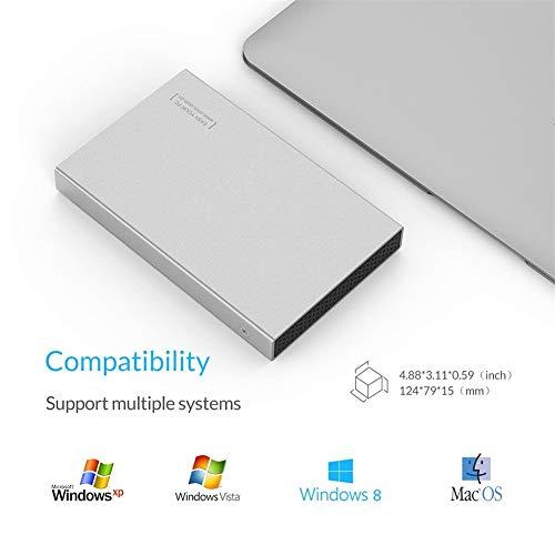 """ZHSHOP Festplatten,Aluminium 2.5\""""Sata USB 3.0 5Gbps Festplatte Für Notebook Solid State High Speed Externes Festplatten Gehäuse Unterstützung 7mm Und 9,5mm Festplattengehäuse Enclosures External"""