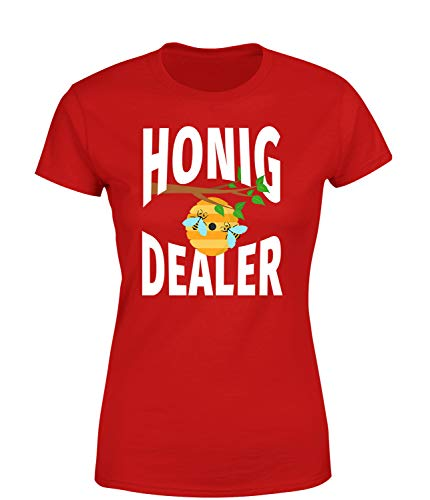 Honig Dealer T-Shirt Damen Spruchshirt Imkerei Fairtrade & Biobaumwolle, Farbe: Rot, Größe: Medium