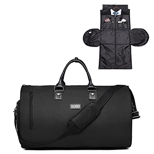 Kono Travel Garment Bag Carry on Duffel Suit Bag 2 in 1 Carrier Luggage Overnight Weekender Bag with Shoes Poch for Men Women 40L