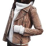 ORANDESIGNE Giacca Corta da Donna in Pelle PU Giacca PU Biker Giacca per l'autunno e l'inverno Biker Motocicletta Giacchetto Marrone XS