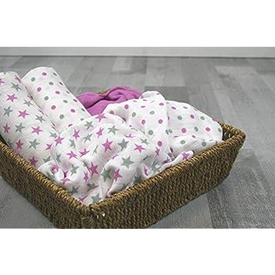 MuslinZ 6pk Baby Muslin Square Burp Cloth Violet Star Mix 100/% Cotton 70x70cm