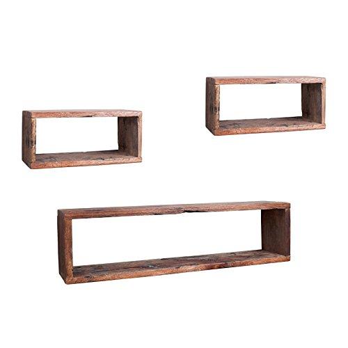 Riess Ambiente Massives Cube 3er Set Hemingway Wandregal aus recyceltem Mahagoni Holzregale Regale