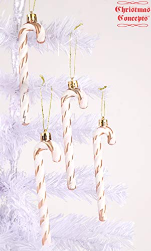 Christmas Concepts® Packung mit 6-13 cm Glitzer-Zuckerstangen-Christbaumschmuck (Rose Gold & Weiß)