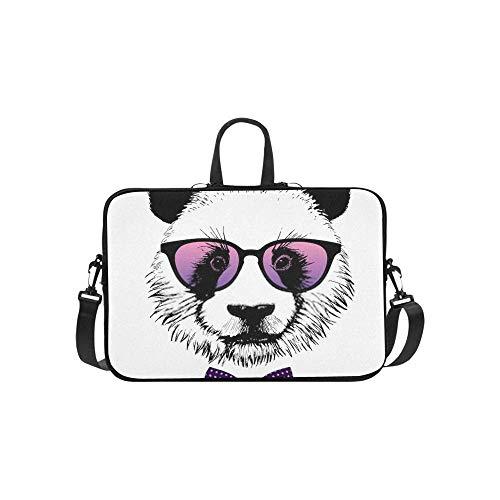 15.6″Lightweight Laptop Notebook Shoulder Backpack Bag Hand Drawn Portrait Pink Sunglasses Waterproof PC Briefcase Messenger with Strap