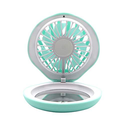 YLL Specchio for Il Trucco Femminile Portatile Piccolo Carry Bag Pieghevole Flip USB Student LED Light Charging Shell Fan