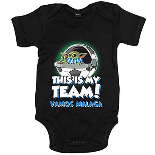 Body bebé parodia baby Yoda mi equipo de fútbol Vamos Málaga - Negro, 6-12 meses