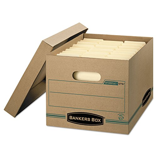 Bankers Box 1277601 Stor/File Boxes, w/Lid, Ltr/Lgl, 12-Inch x15-Inch x10-Inch , 12/CT, KFT/GN