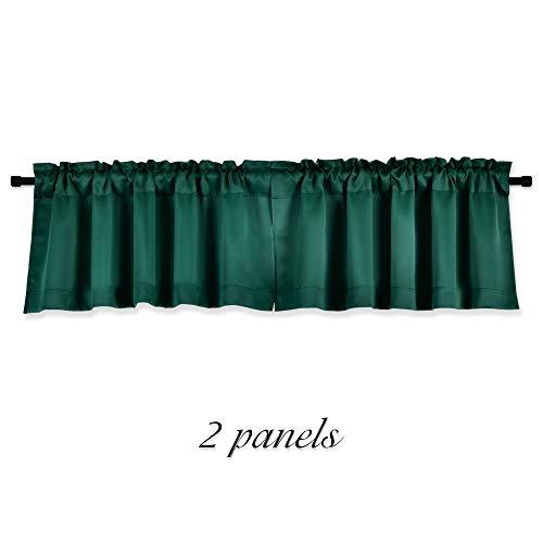 DONREN Dark Emerald Hunter Green Blackout Valances for Windows - Bedroom Small Window Valances for Home Decoration(42 x 15 Inch Length,2 Pack)