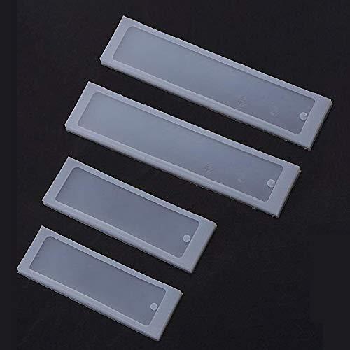 Rettangolo in silicone segnalibro stampo 4 pezzi, HPiano segnalibro fai da te stampi Creazione di resina epossidica gioielli artigianali Stampo silicone trasparente stampo in resina kit