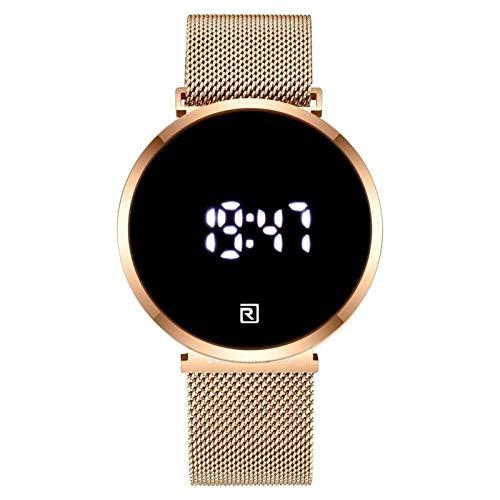 JISHIYU-Q Moda Hombres Relojes táctil Pantalla Deportiva Digital Reloj de Pulsera de Acero Completo a Prueba de Agua LED de Cuarzo Lujo de Lujo (Color : Rose Gold Box)