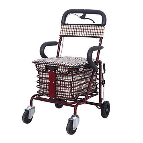 Einkaufswagen Für Ältere Menschen/Klapproller Mit Sitz/Sitz Auf Vier Rädern Für Einkaufs- Und Freizeitwanderwagen/Stahlrohrhalterung + Oxford-Taschenwagen
