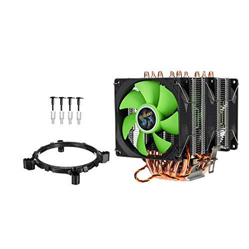 ZX01 Double Tower CPU Cooler 3 Escalofriante Ventilador de Calor Radiador para LGA 775/1155 / 1366AMD CH0316 (Color : Green)