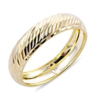 Band ring is an emblem of love through time, a symbol of devotion and an agreement between two souls to love and cherish one another for the rest of their lives. Carved in the shiny and lustrous sheen of 9ct Yellow Gold. Explore vast range of TJC Rin...