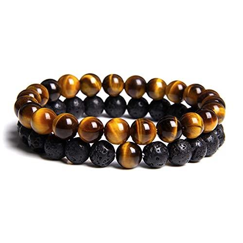 Pulsera, 2 piezas de piedra natural de 8 mm, ojo de tigre, jengibre, cuentas amarillas, lava negra, piedra volcánica, pulsera elástica con cuentas, para mujeres, hombres, pareja, regalo, regalo para a