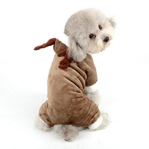 Ranphy Disfraz de Navidad para Perros Reno de Navidad, para Mascotas, para Invierno, Forro Polar, Sudadera con Capucha, Fiesta de disfraceschihuahua, Ropa Divertida para Perros pequeños, Gatos