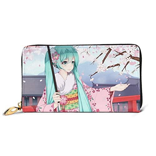 Blue Hair Anime Girl Kimono Sakura Portefeuille en cuir véritable pour femme et homme avec fermeture éclair pour carnets de chèques, cartes de crédit