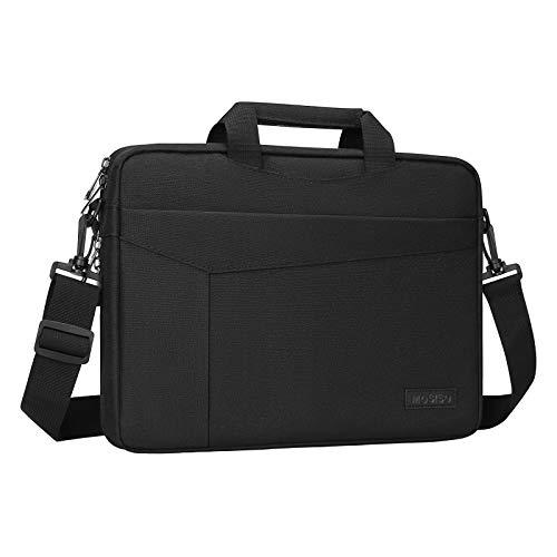 MOSISO Bolsa Hombro Compatible con 13-13,3 Pulgadas MacBook Pro/MacBook Air/Computadora Portátil, Maletín de Transporte con Cinturón de Carro y Profundidad Ajustable en Parte Inferior, Negro
