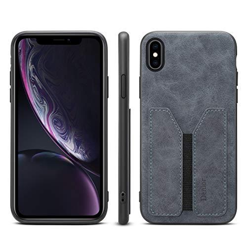 H-HX telefoonhoes beschermhoes, PU + TPU bescherming telefoonhoesje, case met kaartsleuven voor iPhone X/XS (grijs), grijs