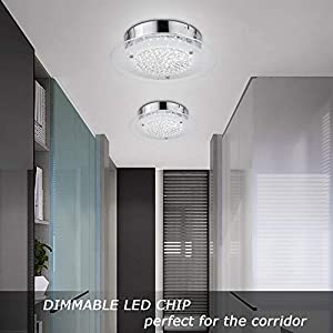 Flush Mount Ceiling Light Ceiling Lamp Dimmable LED Modern Roundness Glass Shade K9 Crystal Bead Ceiling Flush Mount Polished Chrome Light for Porch Balcony Children's Room Bathroom W11H2.8''