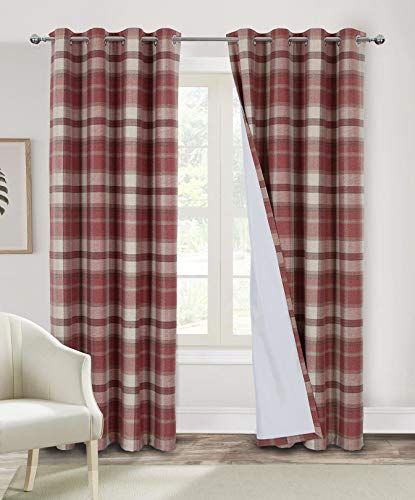 Alexandra Cole Red Plaid Curtains 84 Inch Length Blackout Curtains for Bedroom Check Farmhouse Living Room Curtains 2 Panels