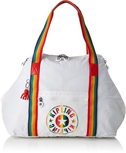 Kipling ART M Canvas & Beach Tote Bag, 58 cm, 26 liters, White (Rainbow White)